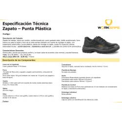 Zapato de Cuero Negro Punta Plástica