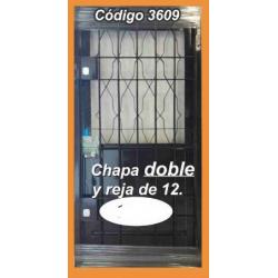 Puerta de Chapa Doble Modelo 3609 con Reja 12