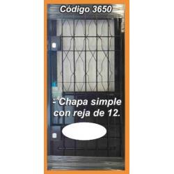 Puerta de Chapa Modelo 3650 con Reja de 12