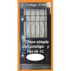 Puerta de Chapa Modelo 3750 con Reja de 12