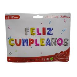 """Cartel Feliz Cumpleaños Multicolor 16"""""""