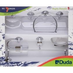 Accesorios de Baño DUDA Genebra 7 Pzas. Cromado Cristal